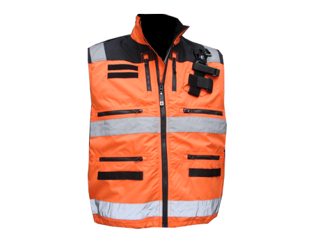 Radio Vest w/ Shock Cord – Orange/Blk