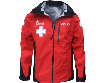 3-Layer Boundary Peak Patrol Jacket (Seven Springs) – Red/Black w/Crosses