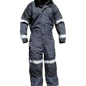Cold-weather Insulated Jumpsuit, Black/Black, Regular, with reflective