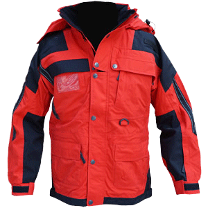 Isotherm Jacket, Long, Red/Black with Reflective, no Crosses..