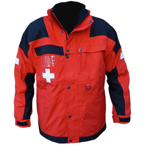 Patrol Jacket, Long, Red/Black with Crosses