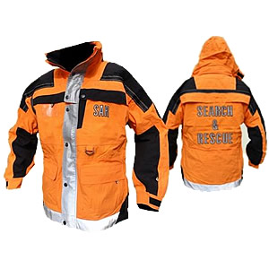 Ops Jacket, tangerine and black with reflective and SAR on back