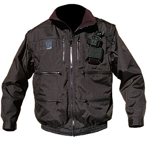 "Radio Jacket, Black, 2"" elastic band waist w/zip-off sleeves"