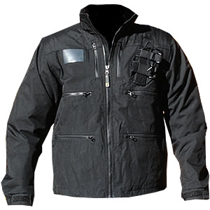 Radio Jacket, Black, w/zip-off sleeves and stretch Shock Cord waist