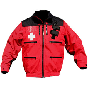 """Rescue Jacket, Red/Black with Crosses, 2"""" elastic band waist w/zip-off sleeves"""