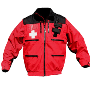 "Rescue Jacket, Red/Black with Crosses, 2"" elastic band waist w/zip-off sleeves"