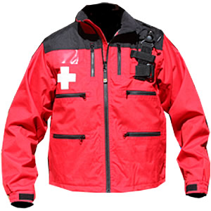 Rescue Jacket, Red/Black with Crosses, w/zip-off sleeves and Shock Cord Waist