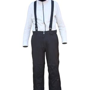 Fullzip Snow Pant with removable Suspenders, Black, Regular