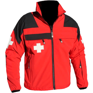 Softshell Jacket - Patrol, Red/Black with Crosses
