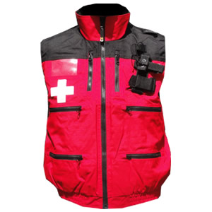 Rescue Vest, Red/Black with Crosses and elastic waist..