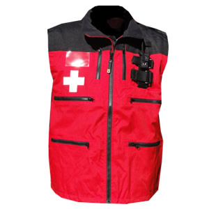 Rescue Vest, Red/Black with Crosses and shock cord