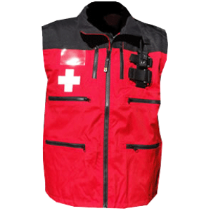 Rescue Vest, Red/Black with Crosses and shock cord waist